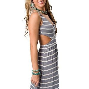 Ocean Drive Striped Gray Maxi Dress